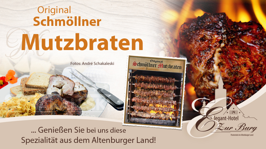 Im Hotel Zur Burg bekommen Sie original Schmöllner Mutzbraten - eine Spezialität aus dem Altenburger Land.