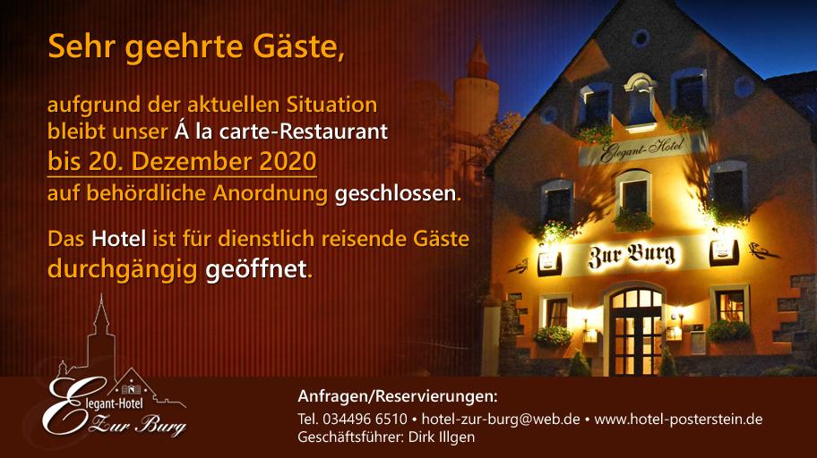 Hotel zur Burg bis voraussichtlich 20. Dezember 2020 geschlossen