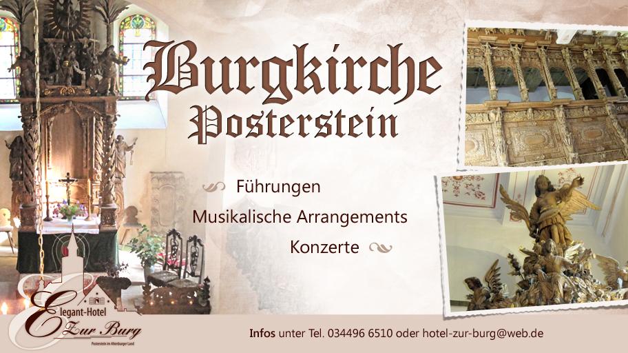 Das beeindruckende barocke Schnitzwerk in der Kirche Posterstein können Sie bei individuellen Kirchenführungen, musikalischen Arrangements und Konzerten auf Anfrage besichtigen.