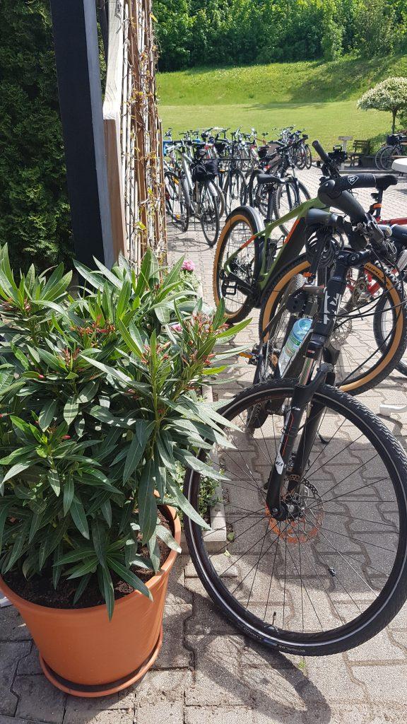 Beliebt bei Radfahrern: Der gemütliche Biergarten im Hotel zur Burg Posterstein.